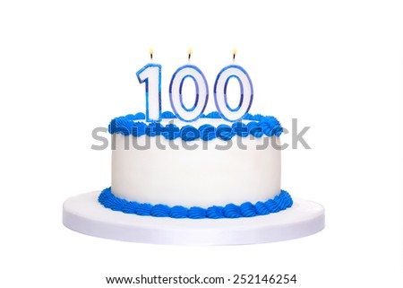 Birthday cake with candles reading 100 - stock photo