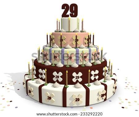 Birthday cake, with chocolate and cream, celebrating an anniversary. On top of the cake number twenty-nine - stock photo