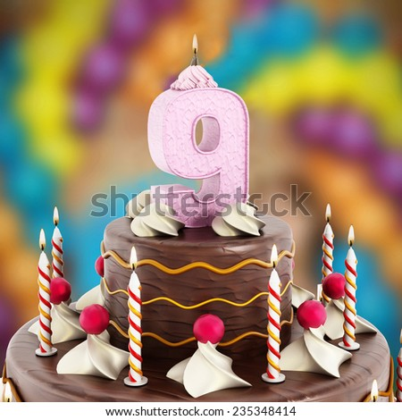 Birthday cake with number 9 lit candle. - stock photo