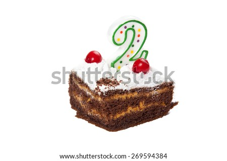 Birthday cake with one candles isolated on white - stock photo