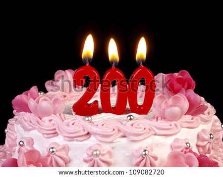 Birthday cake with red candles showing Nr. 200
