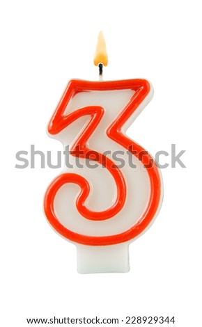 Birthday candle isolated on white background, number 3 - stock photo