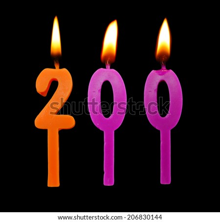 Birthday candle on black background, number 200  - stock photo