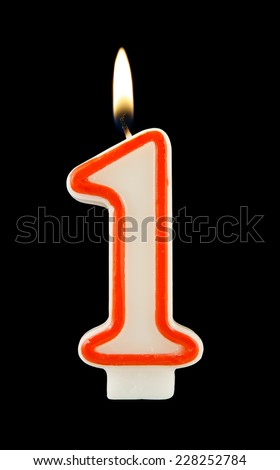 Birthday candle on black background, number 1  - stock photo