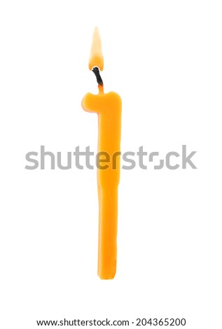 Birthday candle on white background, number 1 - stock photo