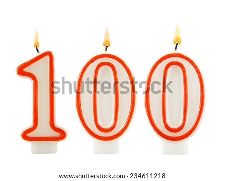 Birthday candle on white background, number 100  - stock photo