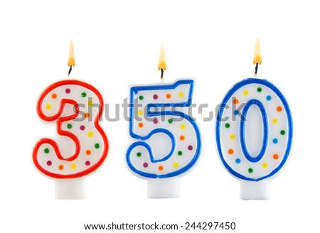 Birthday candle on white background, number 350  - stock photo