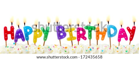 Birthday candles isolated against white - stock photo