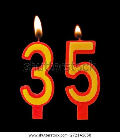 Birthday candles isolated on black background, number 35 - stock photo