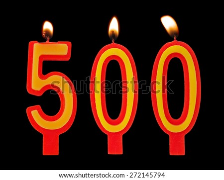 Birthday candles isolated on black background, number 500 - stock photo