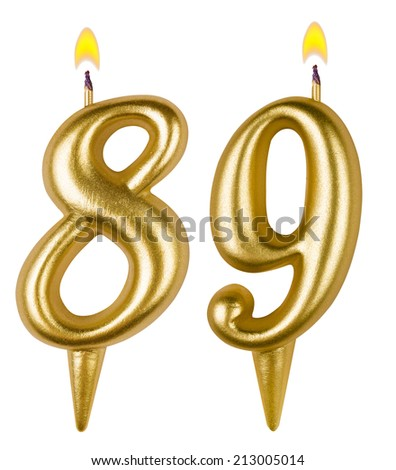 Birthday candles number eighty nine isolated on white background - stock photo