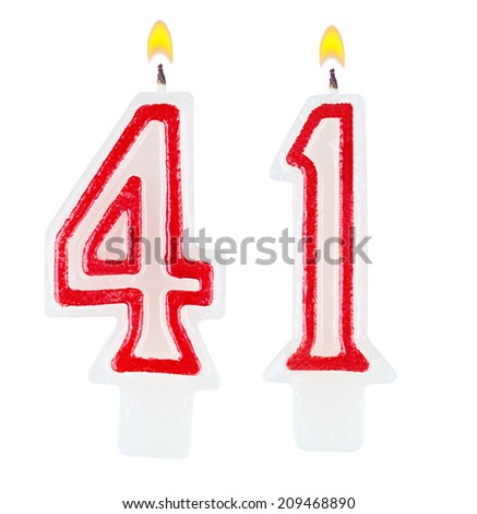 Birthday candles number forty one isolated on white background