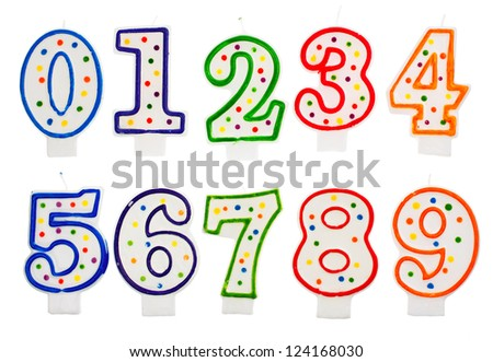 Birthday candles number isolated on white background - stock photo