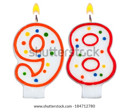 Birthday candles number ninety eight isolated on white background - stock photo