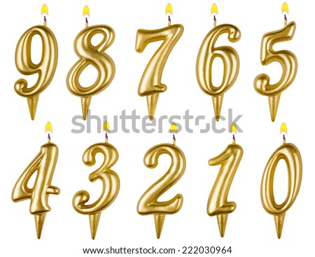 Birthday candles number set isolated on white background - stock photo