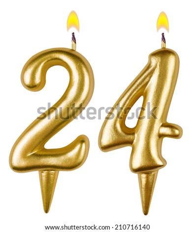 Birthday candles number twenty four isolated on white background - stock photo