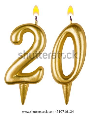 Birthday candles number twenty isolated on white background - stock photo