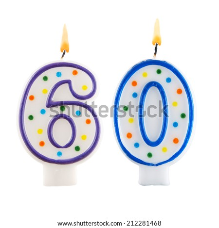Birthday candles on white background, number 60 - stock photo