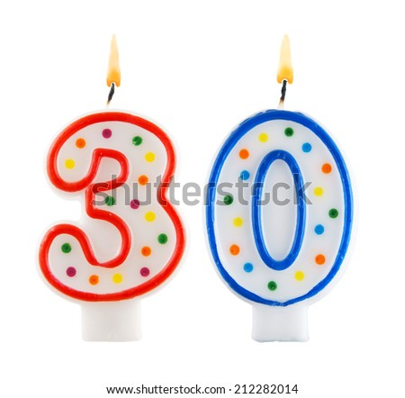Birthday candles on white background, number 30 - stock photo