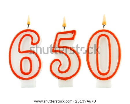 Birthday candles on white background, number 650 - stock photo