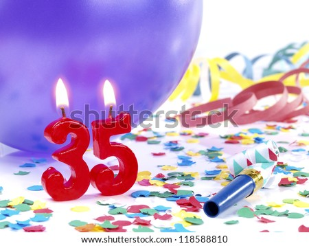 Birthday candles showing Nr. 35 - stock photo