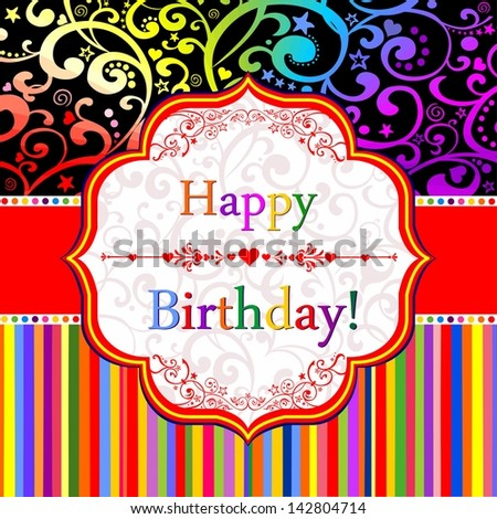 Birthday card. Celebration background with Birthday tag.  illustration - stock photo