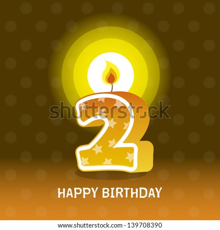 birthday card, second birthday with candle , number 2 - stock photo