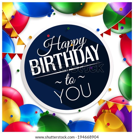 Birthday card with balloons and birthday text. - stock photo