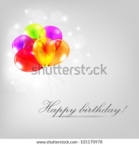 Birthday Card With Balloons, Isolated On Grey Background - stock photo