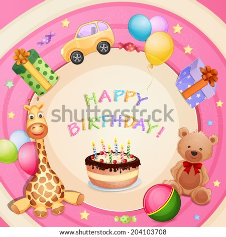 Birthday Card Cute Monsters Characters Stock Vector ...