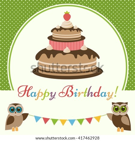 Birthday card with cake and cute owls. Raster version - stock photo