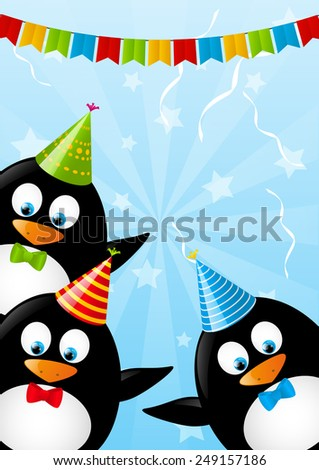 Birthday Card Funny Penguins Stock Illustration 249157186 Shutterstock