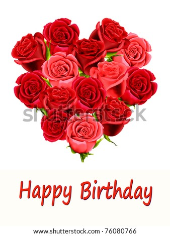 Birthday card with heart shaped roses and Happy Birthday - stock photo