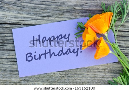 Birthday card with poppy/Happy birthday/english - stock photo
