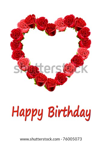 Birthday card with roses and blank space for your own text - stock photo