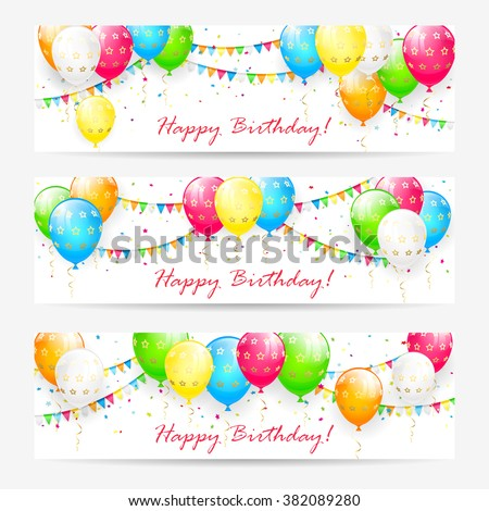 Birthday cards with colorful balloons, confetti and holiday pennants, illustration. - stock photo