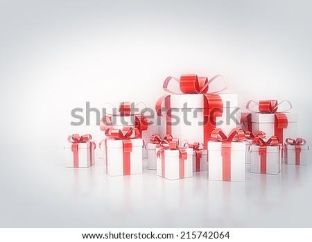 Birthday celebration background. Group of red ribbon gift boxes  - stock photo