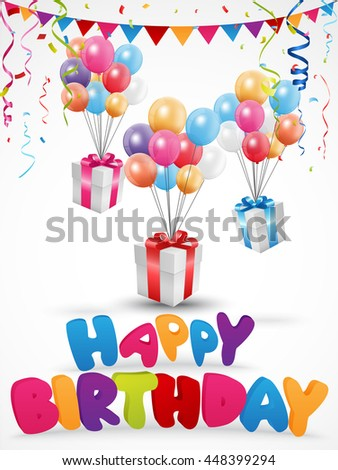 Birthday celebration background with gift box and confetti - stock photo