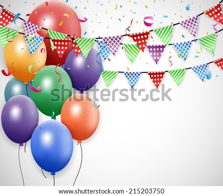 Birthday celebration design with balloon and confetti  - stock photo