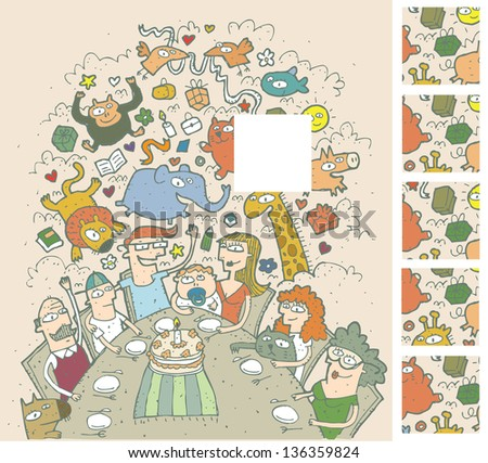 Birthday Celebration Visual Game for children. Task: Find the right missing part of a picture! Solution is 2nd square from above! (for vector see image 116009044) - stock photo