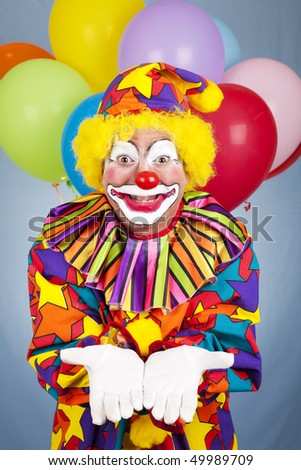 Birthday clown holds his hands open. Any gift or object can be added.