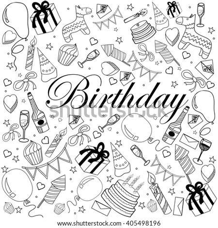 Birthday Coloring Book Line Art Design Stock Illustration 405498196 ...