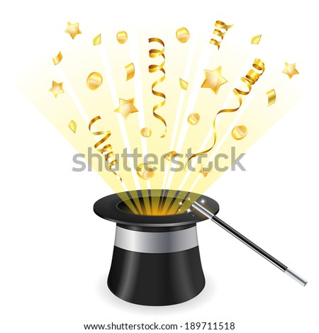 Birthday Concept - Magician Hat with Gold Streamer and Confetti, icon isolated on white background