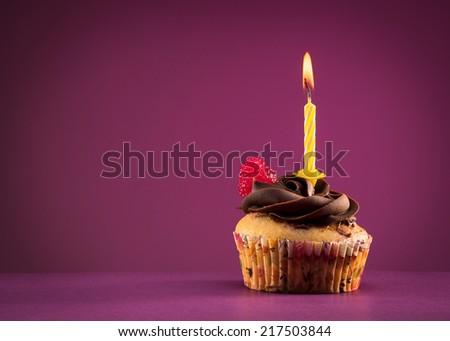 birthday cupcake - stock photo