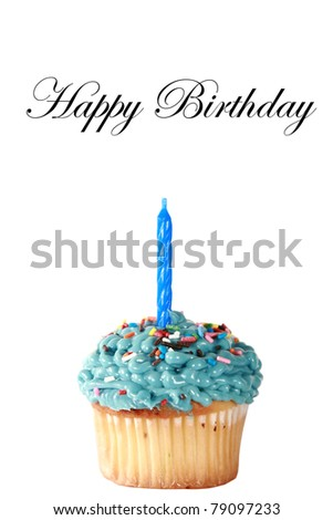 birthday cupcake isolated on white with room for your text - stock photo