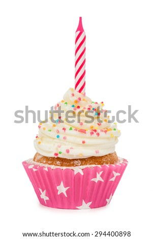 Birthday cupcake with a candle isolated on white. - stock photo