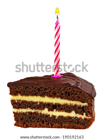 Birthday cupcake with a candle isolated on white background