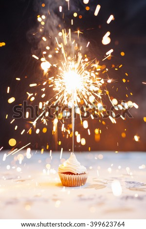 Birthday Cupcake with a sparkler  - stock photo