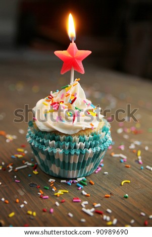 Birthday cupcake with a star candle on top - stock photo