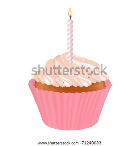 Birthday Cupcake With Candles, Isolated On White Background - stock photo